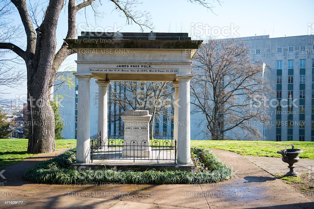 Grave of President James Polk in Nashville stock photo