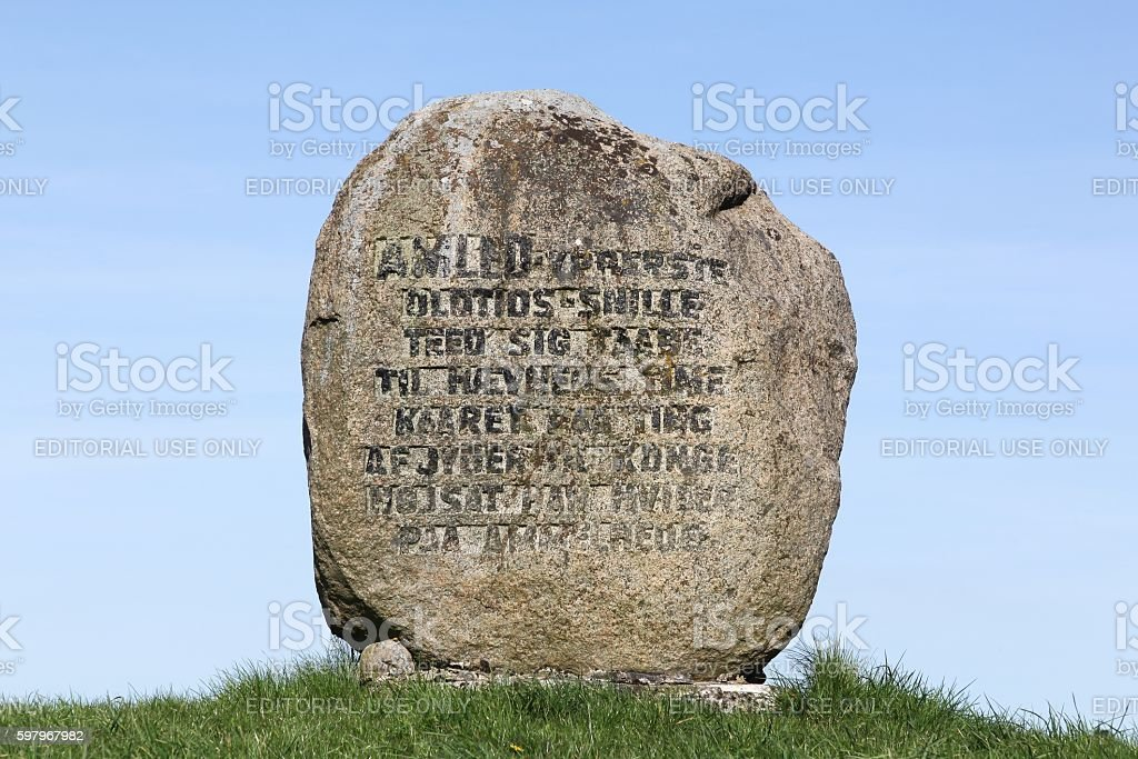 Grave of the Prince Hamlet in Ammelhede, Denmark stock photo
