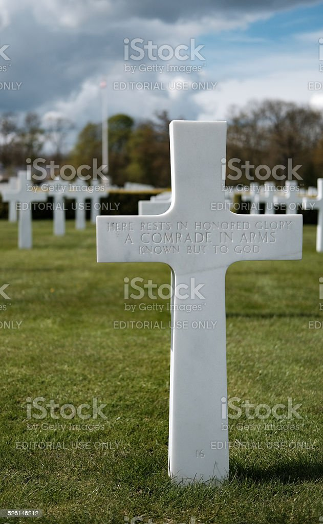 Grave of unknown war dead at an American cemetery stock photo