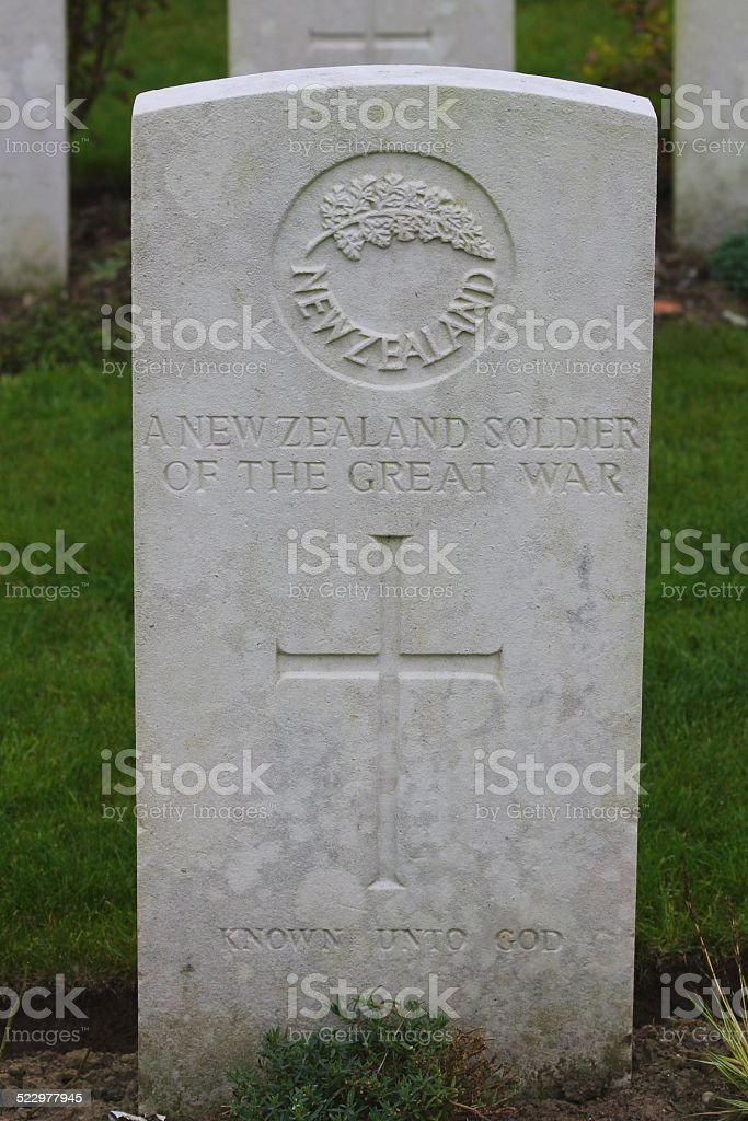 Grave of WW I Unknown New Zealand Soldier stock photo