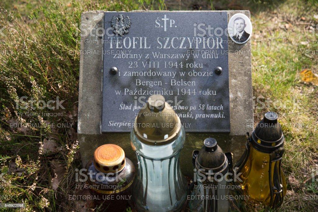 Grave Polish man Bergen Belsen stock photo