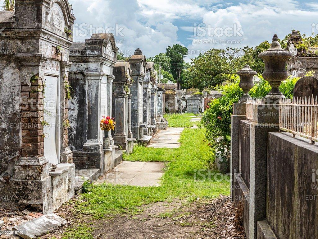 Grave site at the Saint Louis La Fayette Cemetery stock photo