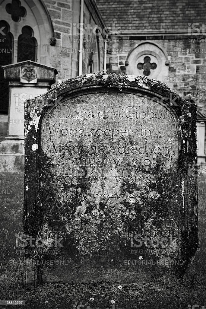 Grave stone at the Chapel of Luss royalty-free stock photo