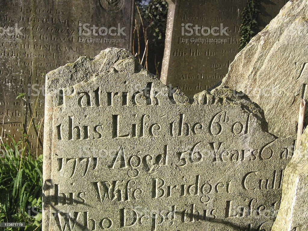 Grave Stone from 1771 royalty-free stock photo