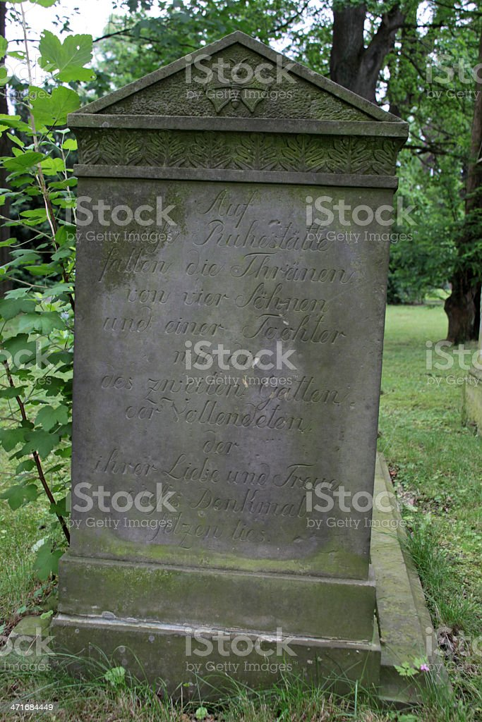 Grave stone inscription stock photo