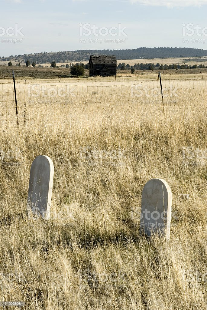 Grave yard on homestead (tombstones) royalty-free stock photo