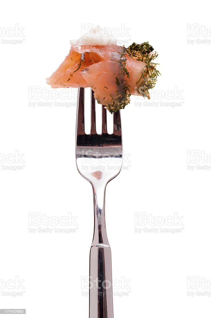 Graved salmon with creamed horseredish stock photo