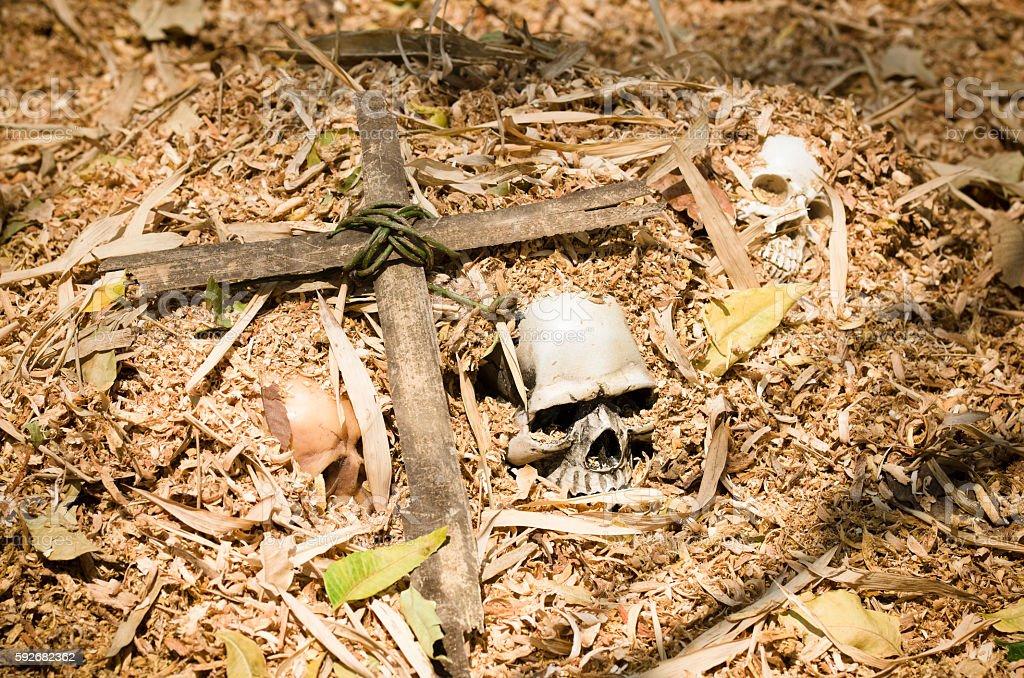 graved skull with cross stock photo