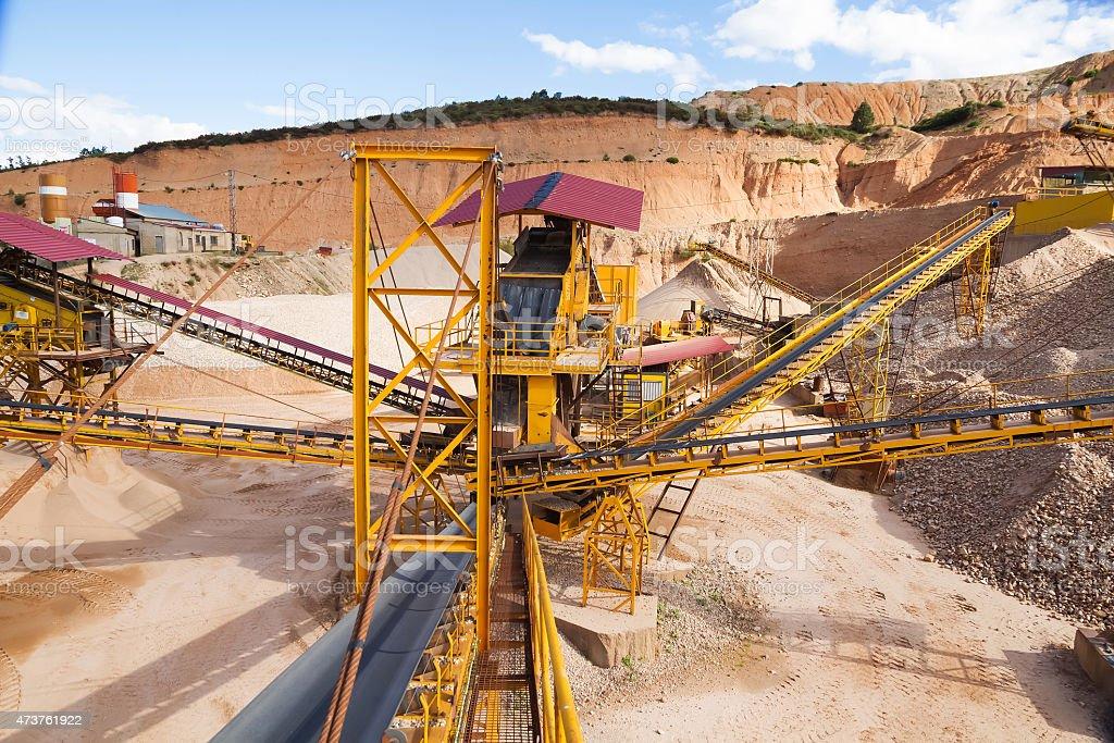 Gravel aggregate extraction - Gravera de Extraccion de Aridos stock photo