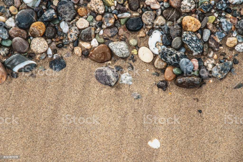 Gravel And Sand Texture on the Mediterranean Coast, Calabria stock photo