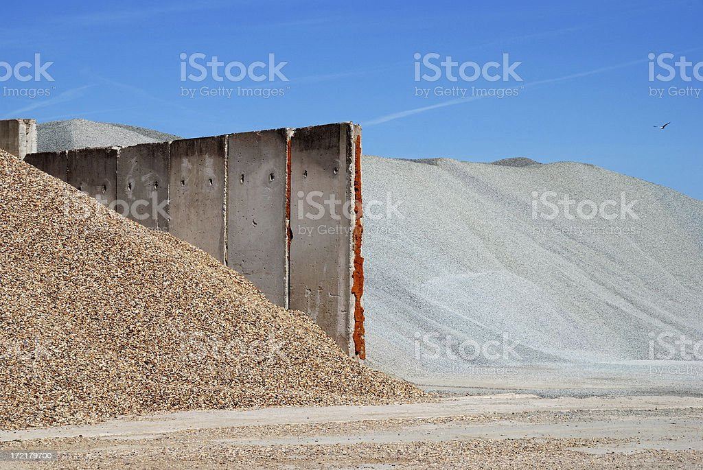 gravel and wall royalty-free stock photo