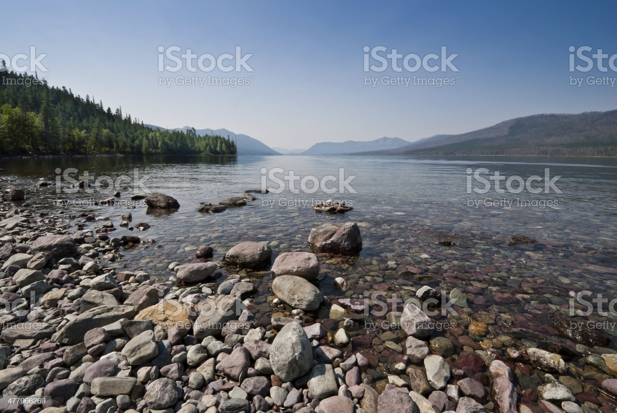 Gravel Beach at Lake McDonald royalty-free stock photo