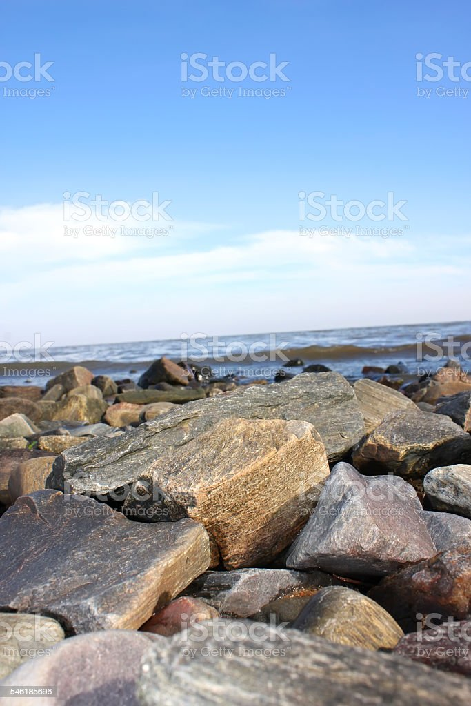 Gravel coast in Colonia del Sacramento stock photo