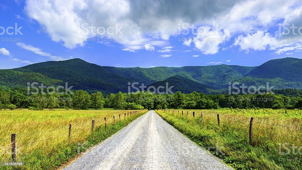 Gravel country road leading through Cade's Cave stock photo