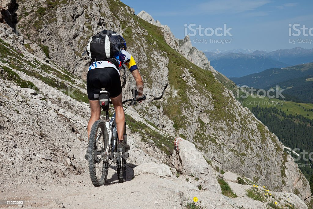 Gravel downhill in the Dolomites royalty-free stock photo