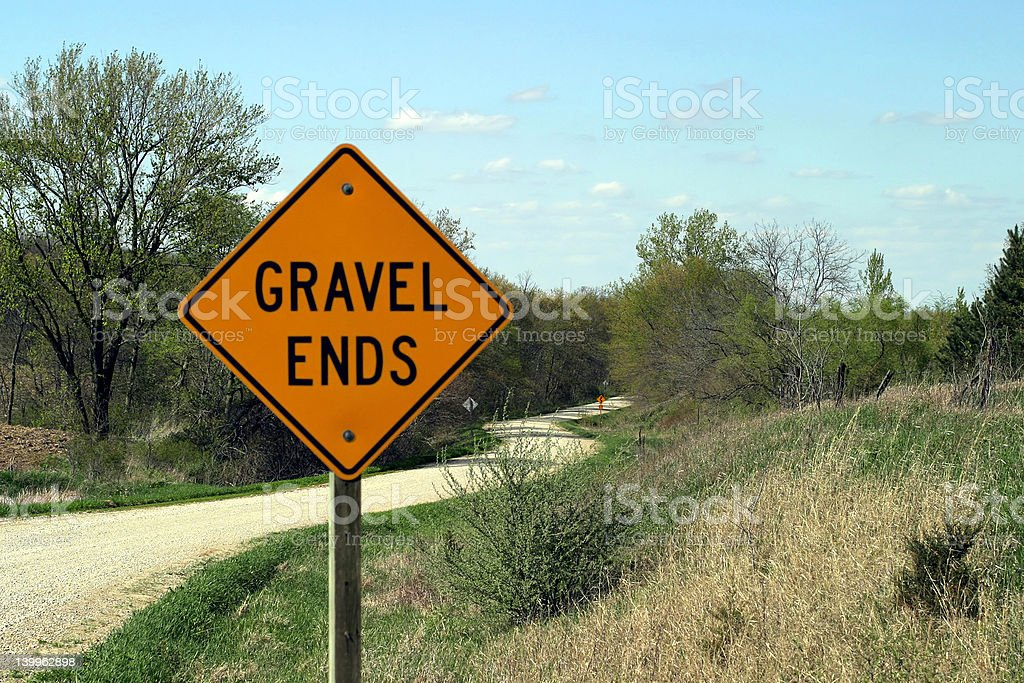 Gravel Ends Sign stock photo