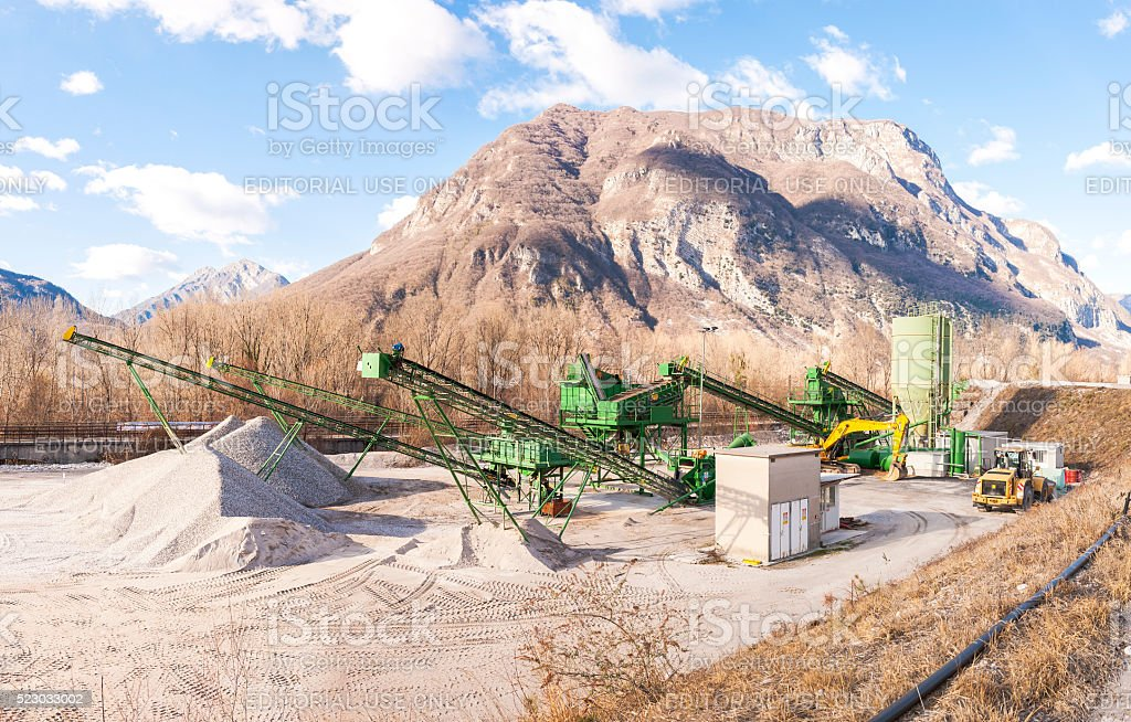Gravel extraction plant. stock photo