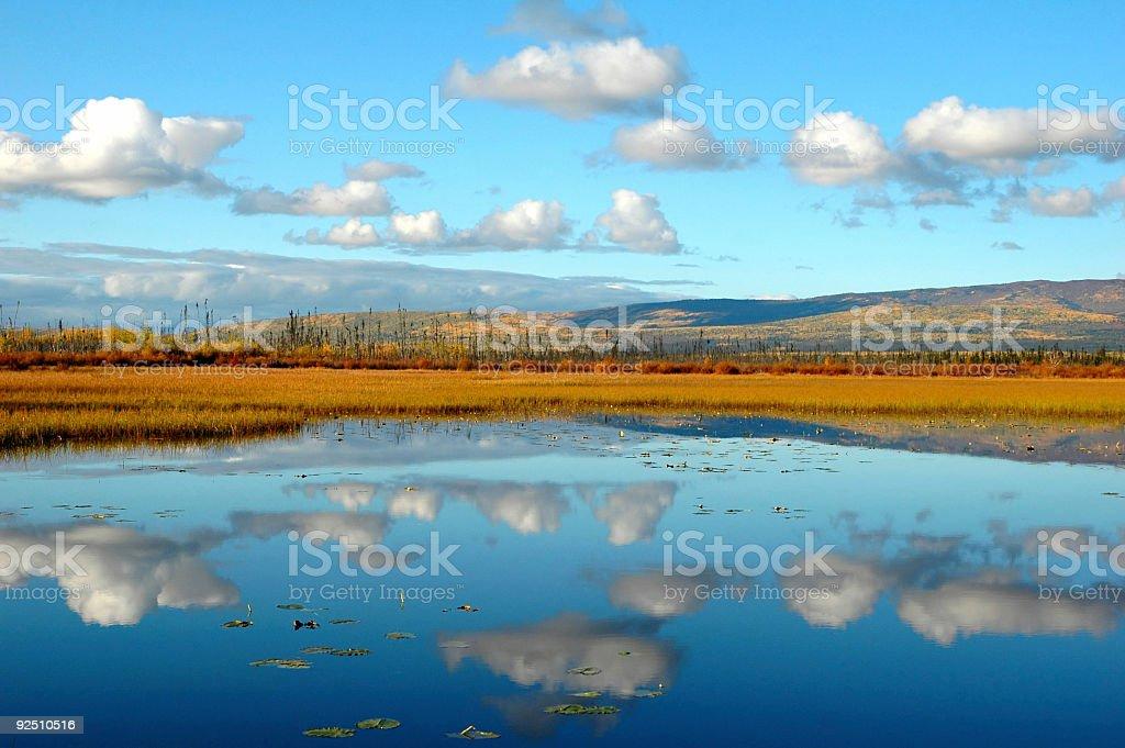 Gravel Lake reflection in the Yukon Territory,Canada royalty-free stock photo