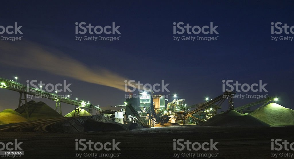 Gravel plant at night stock photo