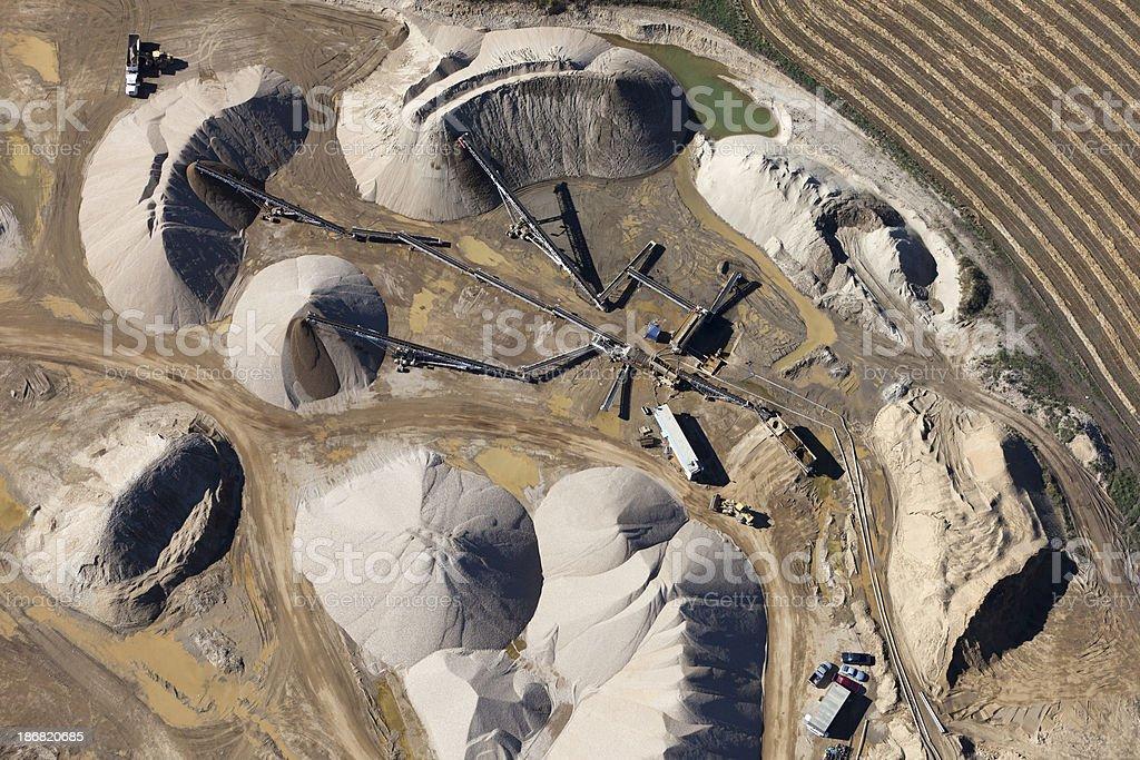 Gravel Quarry Aerial Photo stock photo