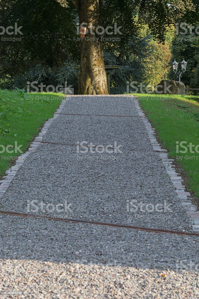 Gravel road in a park. stock photo