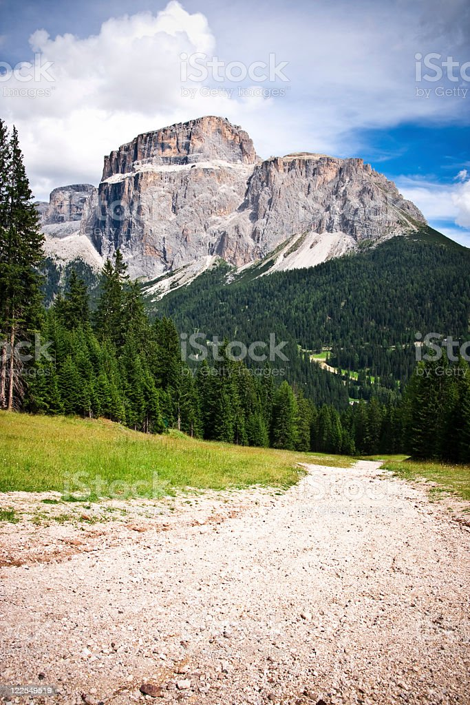 Gravel road in the Alps royalty-free stock photo