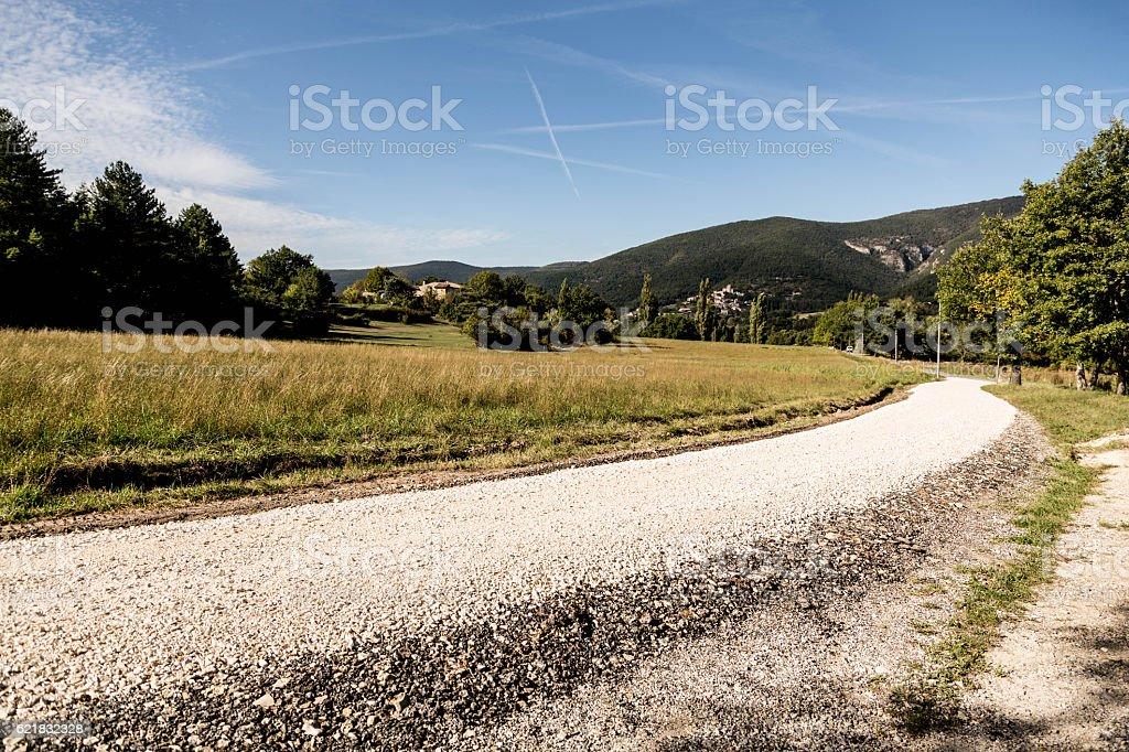 gravel track in rural location in France stock photo