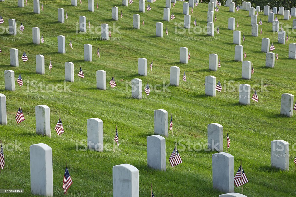 Gravemarkers on Memorial Day at Arlington National Cemetery royalty-free stock photo