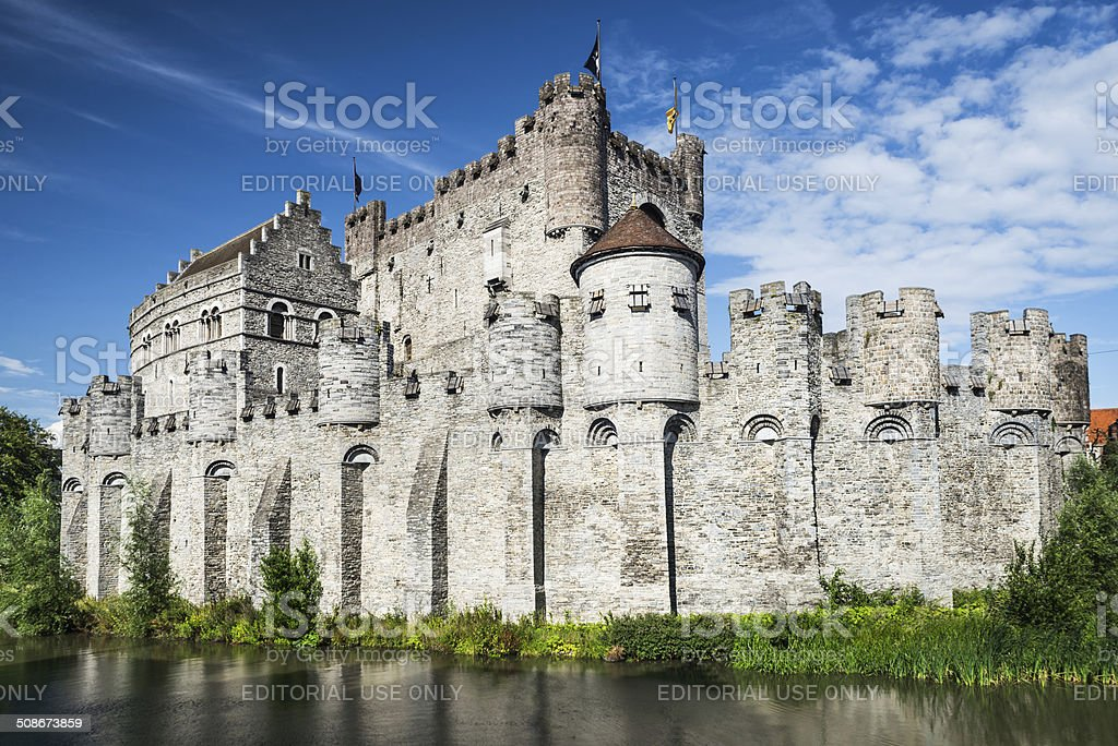Gravensteen Castle and Lieve River, Ghent stock photo