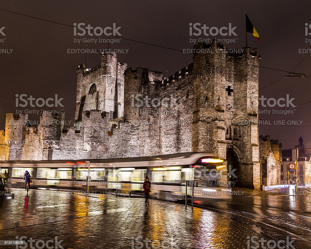 Gravensteen Castle in Ghent at Night stock photo