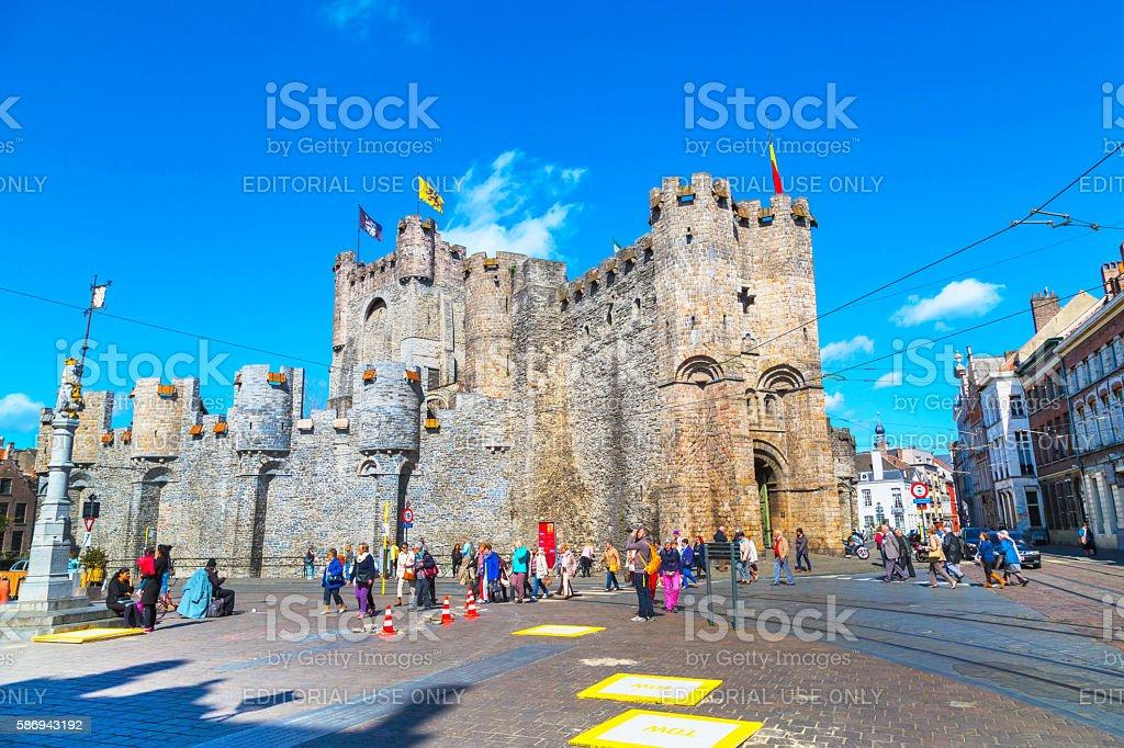 Gravensteen castle in Ghent, Belgium stock photo