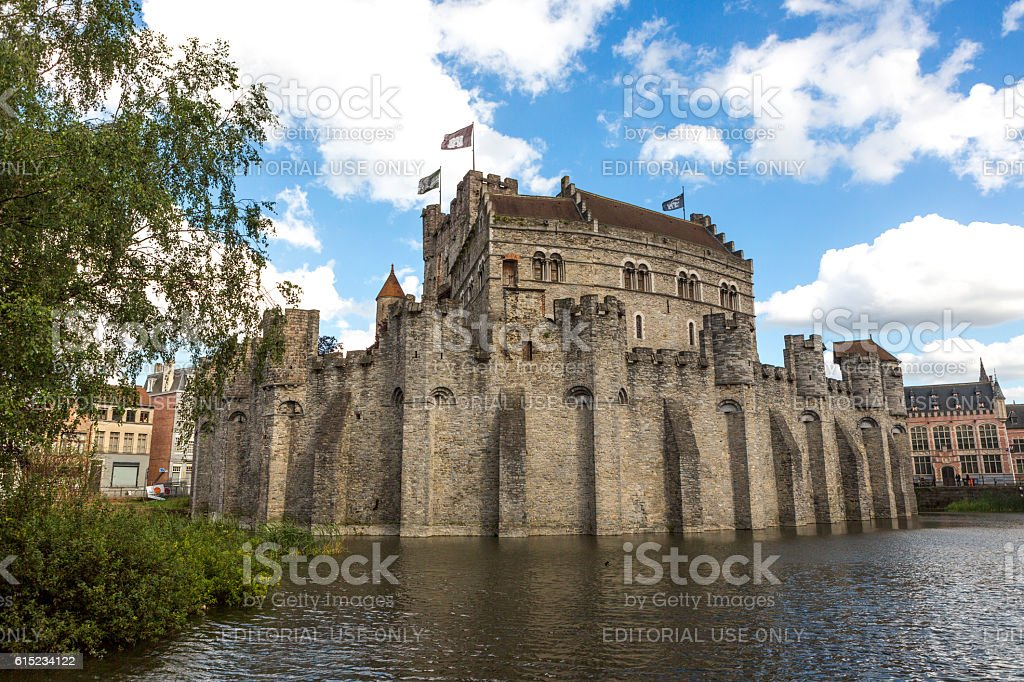Gravensteen Preserved castle and armory museum in ghent belgium stock photo
