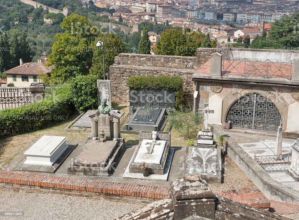Graves and tombs of old cemetery delle Porte Sante stock photo