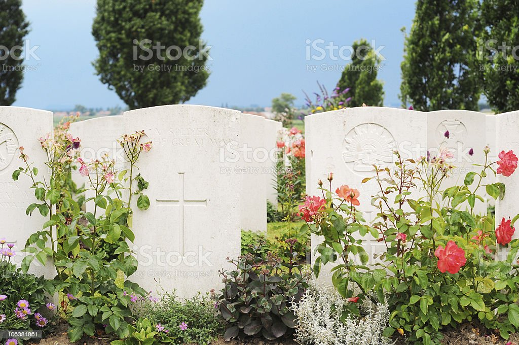 Graves at Tyne Cot cemetery, Flanders stock photo