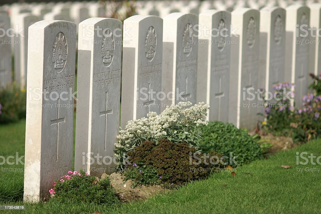ANZAC Graves in Flanders royalty-free stock photo