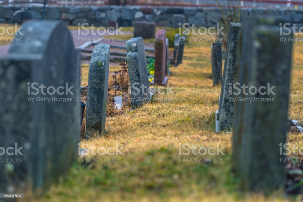 Hatuna, Sweden - April 1, 2017: Graves in the church of Haggeby, Sweden stock photo