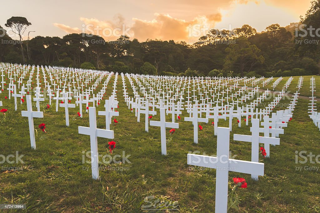 Graves of Anzac Soldiers stock photo