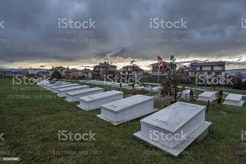 Graves of Kosovo Liberation Army fighters killed during 1999 conflict stock photo