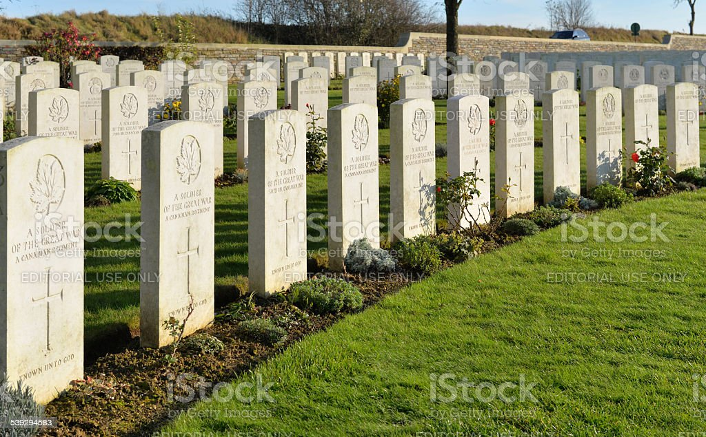 Graves of unknown soldiers, Cabaret Rouge Cemetery, Arras France stock photo