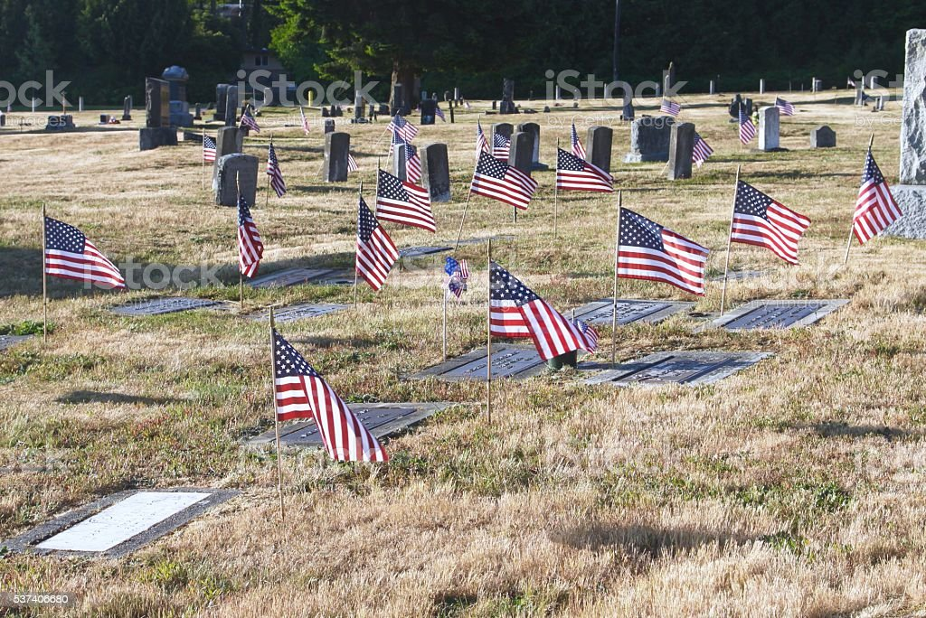 Graveside Flags On Memorial Day stock photo