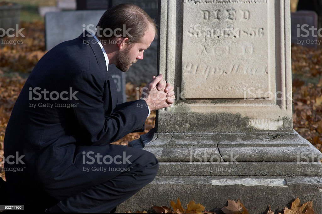 Graveside Prayer stock photo