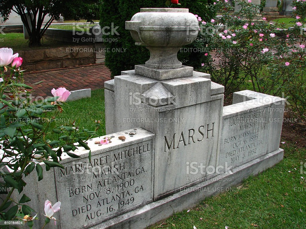 Gravesite of author Magaret Mitchell stock photo