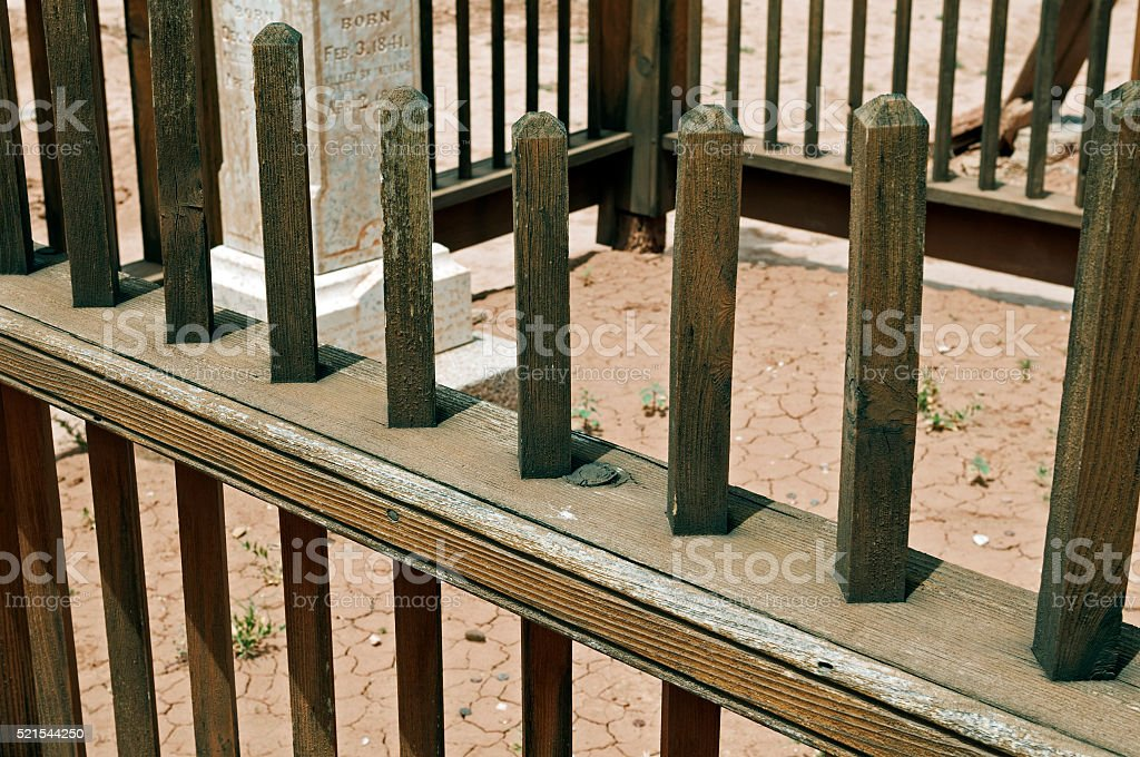 Gravestone at ghost town in southern Utah stock photo