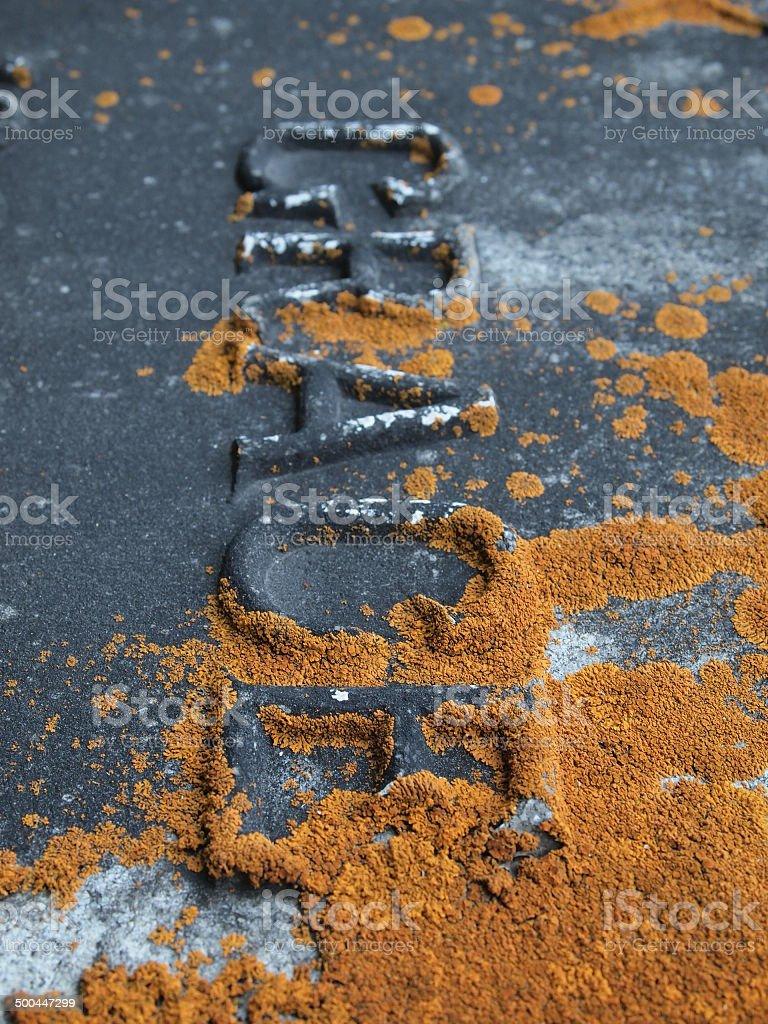 Gravestone covered in lichen stock photo