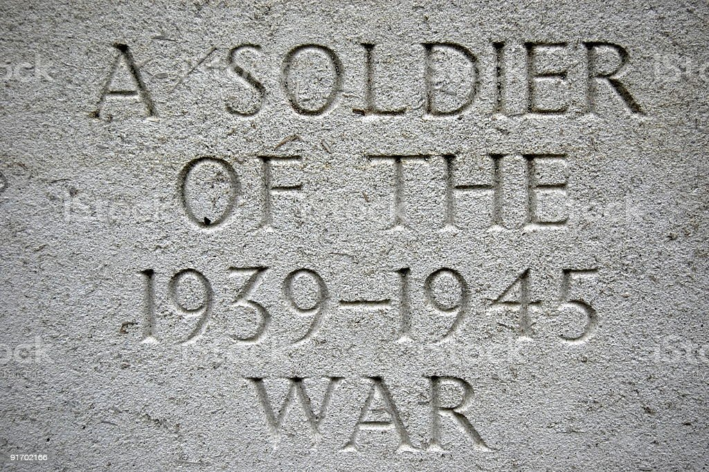 Gravestone Engraving from World War Two royalty-free stock photo