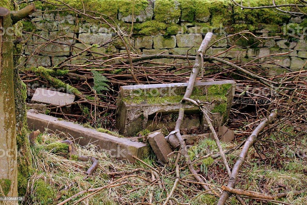 Gravestone Headstone in abandoned neglected UK Cemetery / Graveyard stock photo