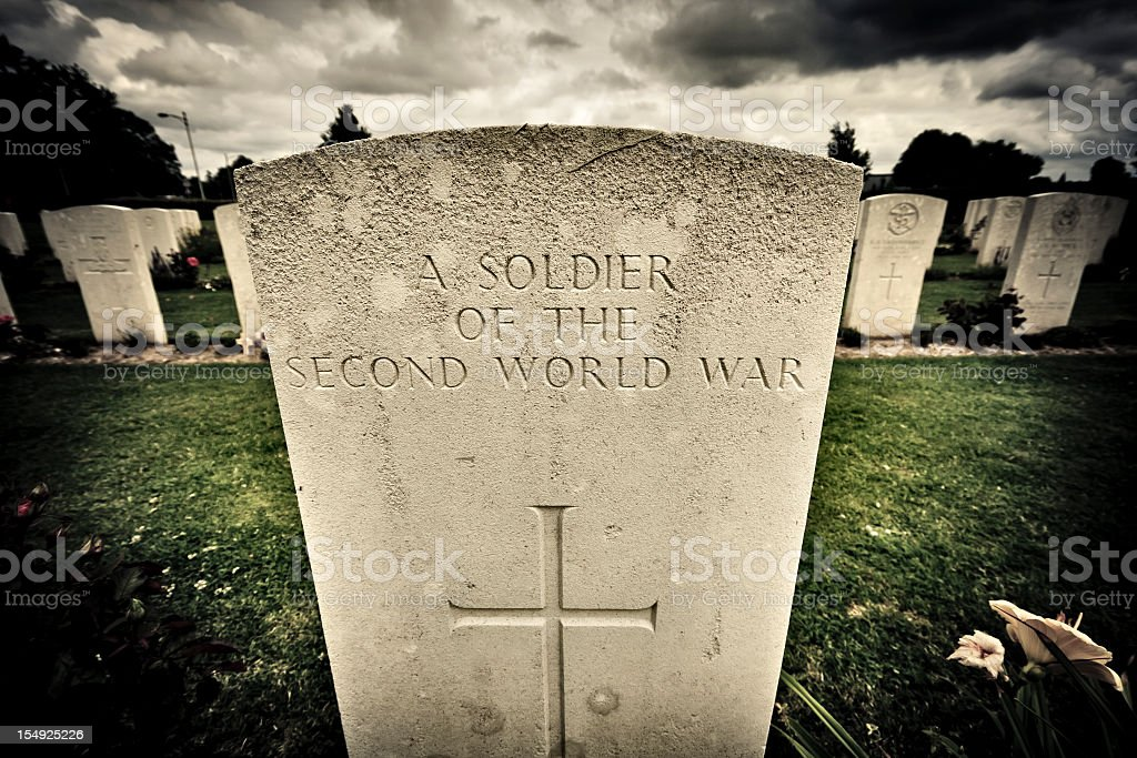 Gravestone of an unknown soldier stock photo