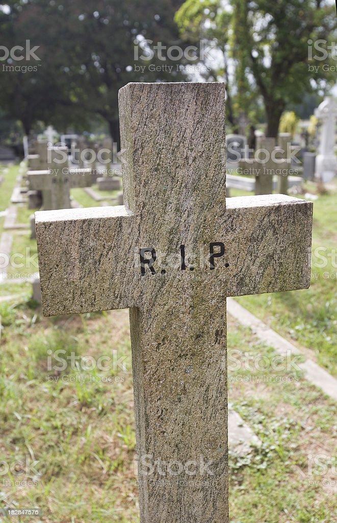 Gravestone RIP Rest in Peace stock photo