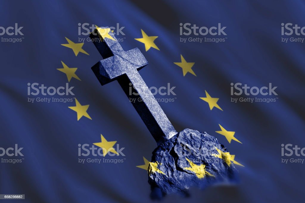 Gravestone with flag of European union stock photo