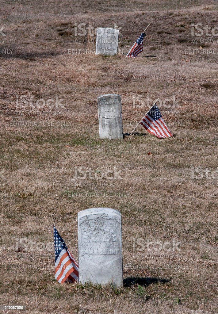 Gravestones anf Flags Honor Veterans stock photo